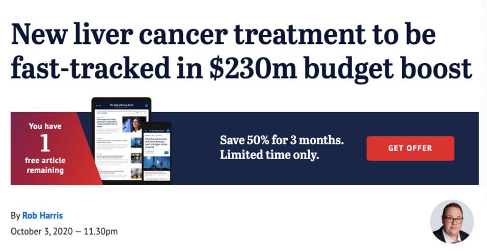 一疗程17万澳元的肝癌药将被纳入澳洲医保!
